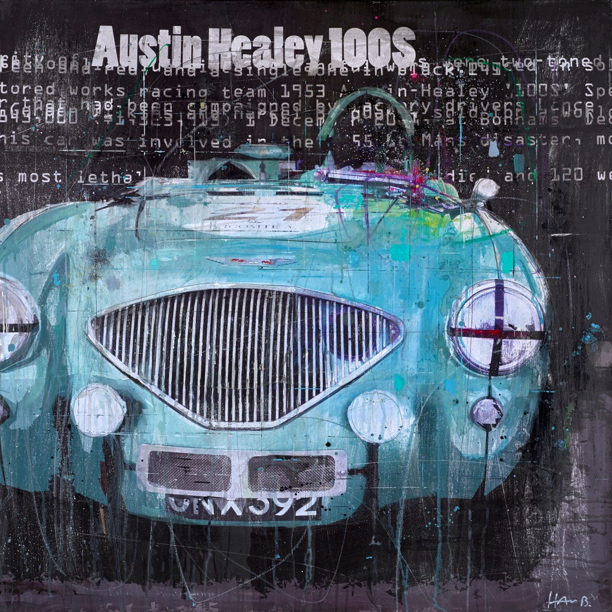 The Austin Healey 100S by markus haub -  sized 39x39 inches. Available from Whitewall Galleries