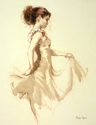 Study on Cream by Mark Spain - Original Painting on Board sized 18x24 inches. Available from Whitewall Galleries